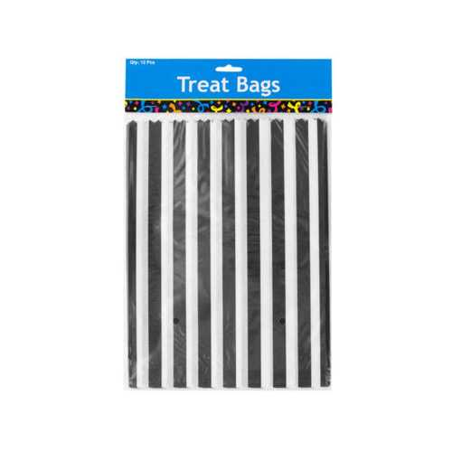 Black Striped Paper Treat Bags ( Case of 24 )