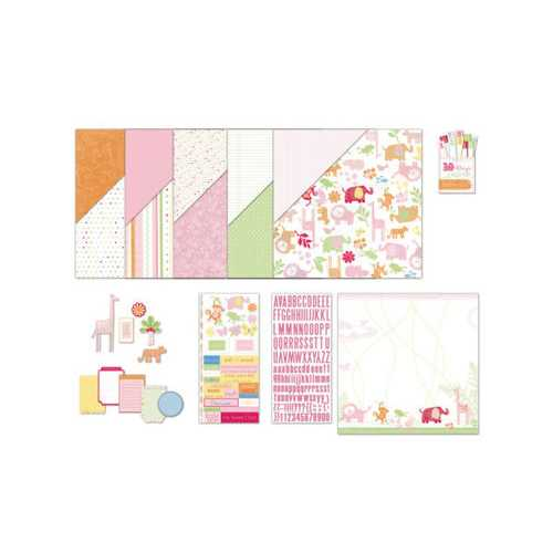 Baby Girl Safari Scrapbooking Page Kit ( Case of 36 )