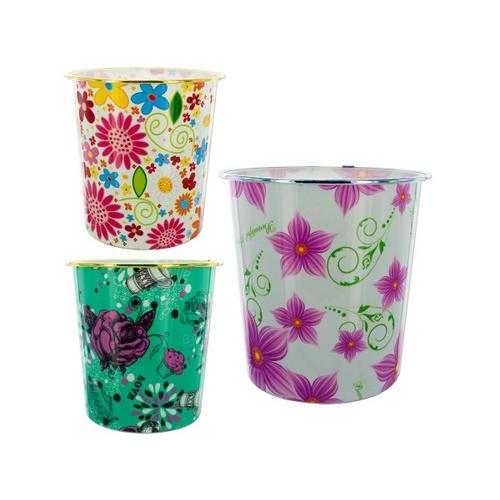 Round Floral Design Wastebasket ( Case of 8 )