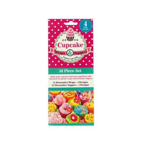 Decorative Cupcake Wraps and Toppers Set ( Case of 24 )