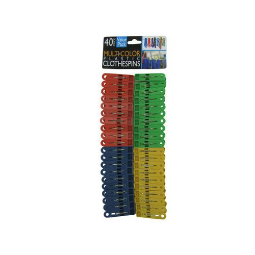 Multi-Colored Plastic Clothespins ( Case of 48 )