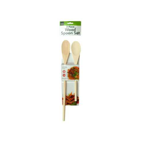 "2 Pc Wood Spoon Set Size 10"" and 14"" ( Case of 12 )"