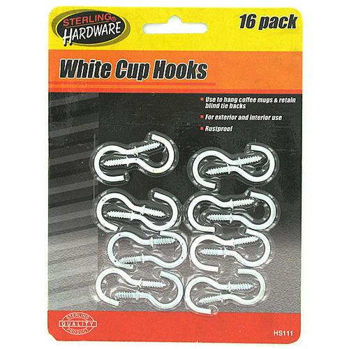 White Cup Hooks ( Case of 72 )