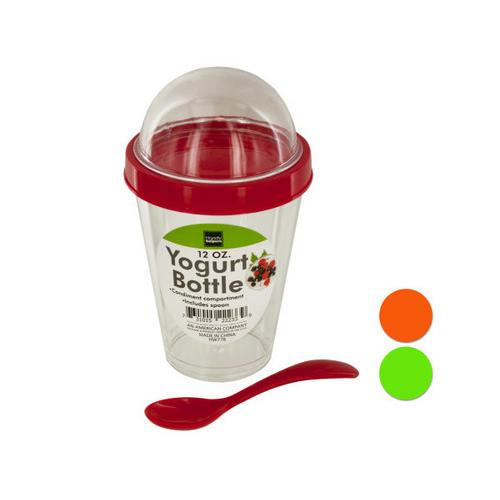 12 oz Yogurt Cup with Top Compartment & Spoon ( Case of 8 )