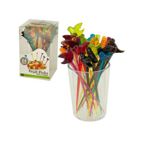 Colorful Bird Fruit Picks with Holder ( Case of 24 )