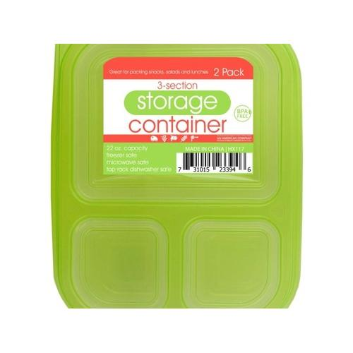 3-Section Food Storage Container Set ( Case of 24 )