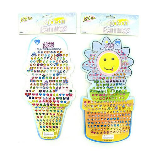 Large Stick-On Earrings Set ( Case of 24 )