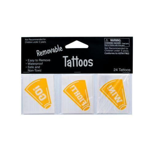 Removable Yellow Cheer Tattoos ( Case of 24 )