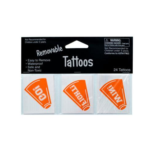 Removable Orange Cheer Tattoos ( Case of 24 )