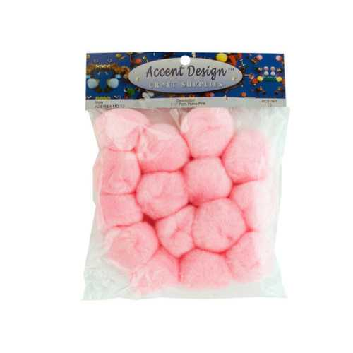 Pink Craft Pom Poms Set ( Case of 72 )