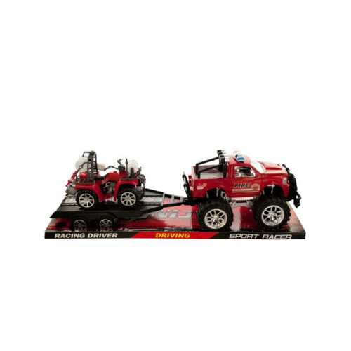 Friction Powered Fire Rescue Trailer Truck with ATV ( Case of 2 )