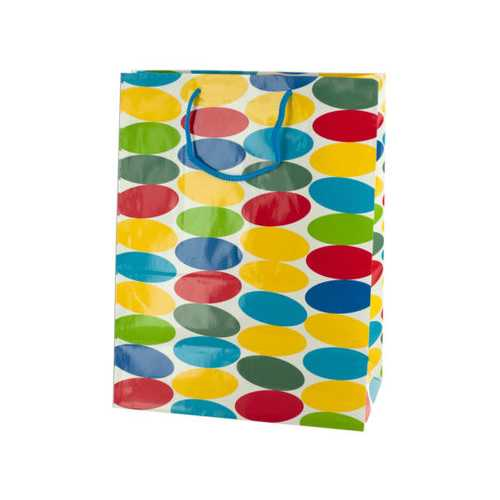 Large Multi-Colored Dots Gift Bag ( Case of 24 )