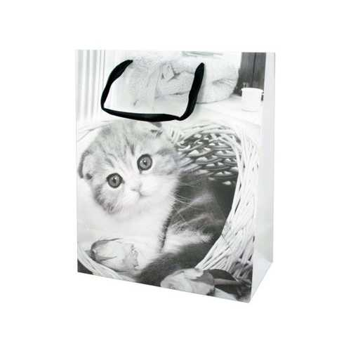 Large Black & White Puppies & Kittens Gift Bag ( Case of 48 )
