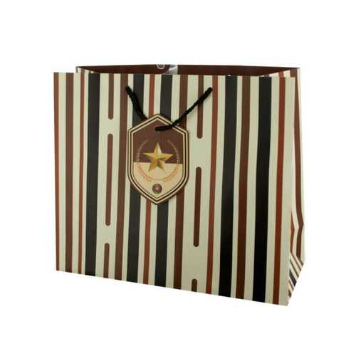 Large Striped Gift Bag with Star Tag ( Case of 48 )
