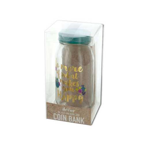 Happy Owl Glass Mason Jar Coin Bank ( Case of 6 )