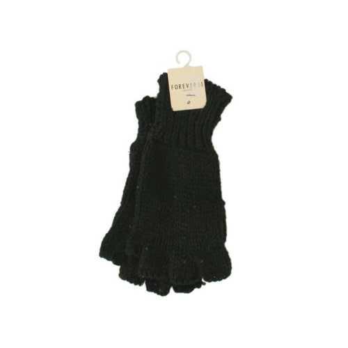 Women's Black Sparkle Fingerless Knit Gloves ( Case of 24 )