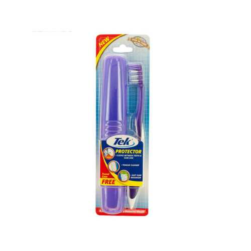 Soft Massaging Toothbrush with Tongue Cleaner & Travel Case ( Case of 72 )