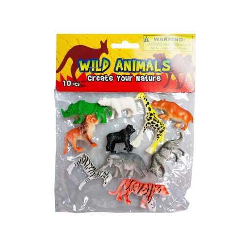 10 piece wild animals ( Case of 12 )