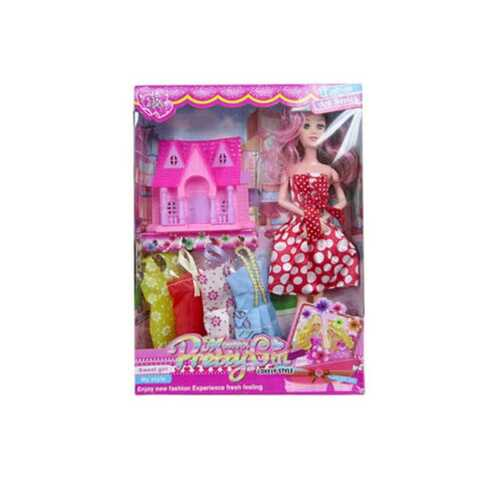 "11"" bendable doll w/4 extra dresses & play house ( Case of 8 )"