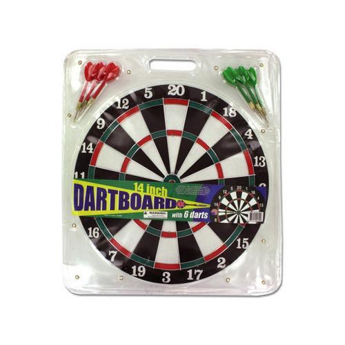 Dartboard with Metal Tip Darts ( Case of 8 )