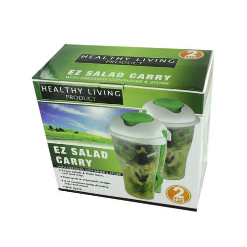 2 Pack Salad Container Set with Dressing Containers & Forks ( Case of 8 )