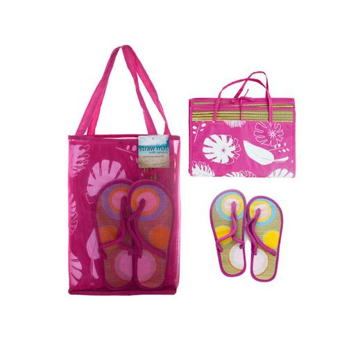 Straw Beach Mat with Sandals in Carrying Bag Set ( Case of 1 )