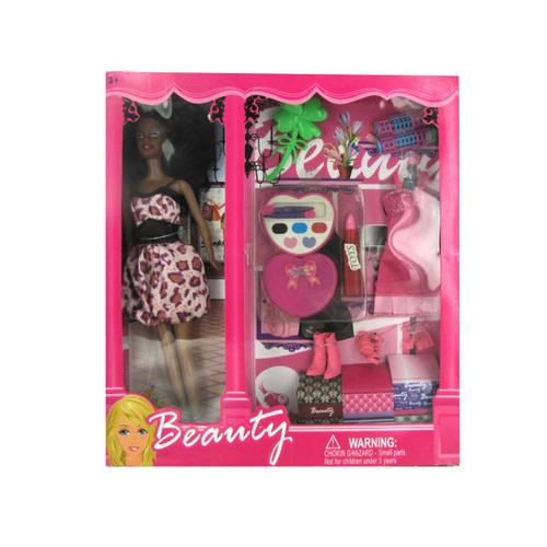 Black Fashion Doll with Dress and Accessories ( Case of 4 )