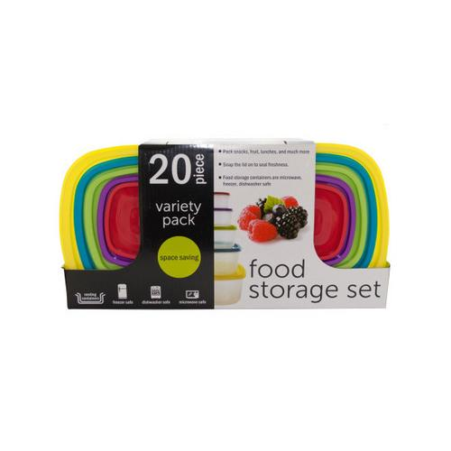 20-Piece Variety Pack Food Storage Containers Set ( Case of 2 )