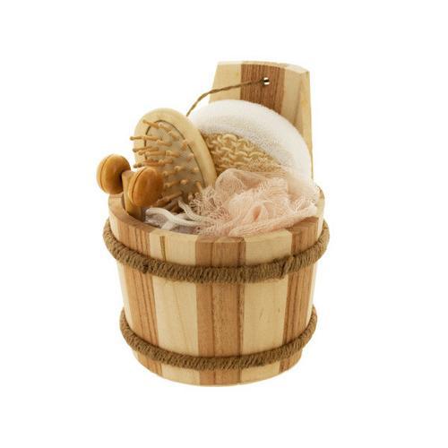 Bath Set in Wood Barrel ( Case of 4 )