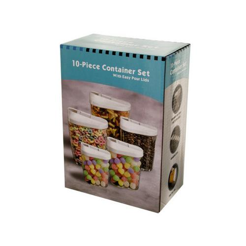 Nesting Food Container Set with Easy Pour Lids ( Case of 3 )