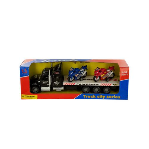Friction-Powered Semi-Truck with Motorcycles Set ( Case of 4 )