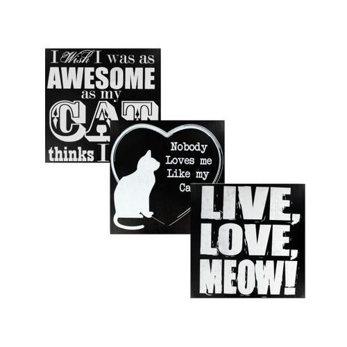 Black & White Wooden Cat Sign ( Case of 4 )