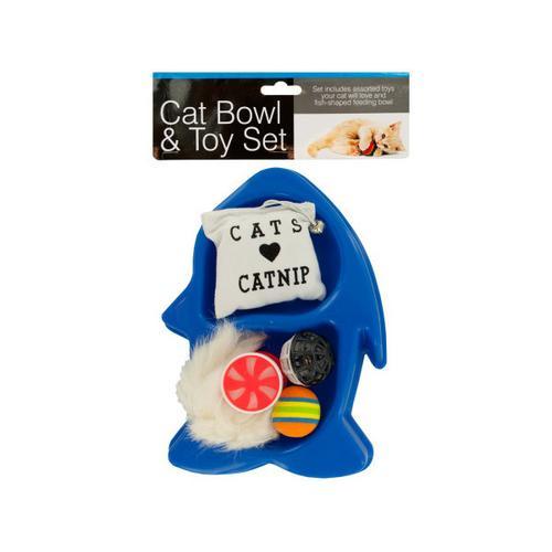 Fish-Shaped Cat Bowl & Toy Set ( Case of 4 )