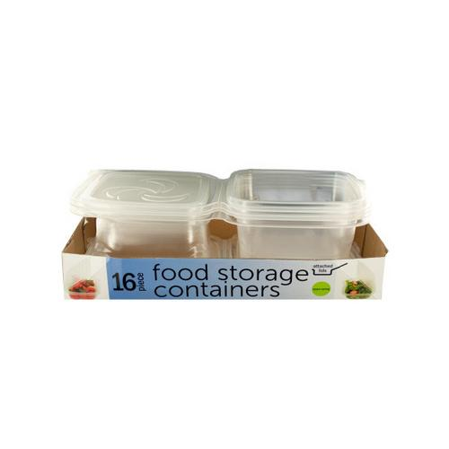 Food Storage Containers with Attached Lids ( Case of 2 )