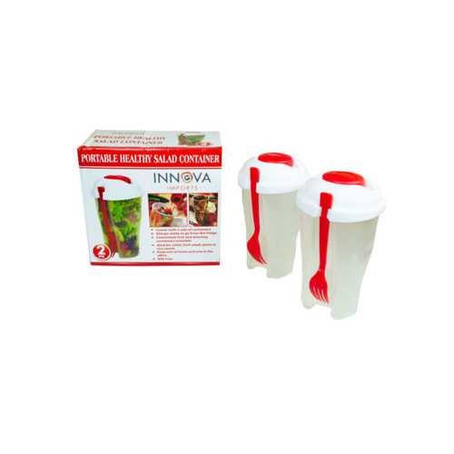 Red 2 Pack Salad Container Set ( Case of 4 )