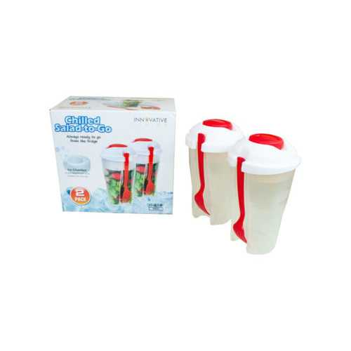 Red 2 Pack Salad Container Set with Ice Chamber ( Case of 6 )