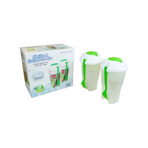 Green 2 Pack Salad Container Set with Ice Chamber ( Case of 6 )