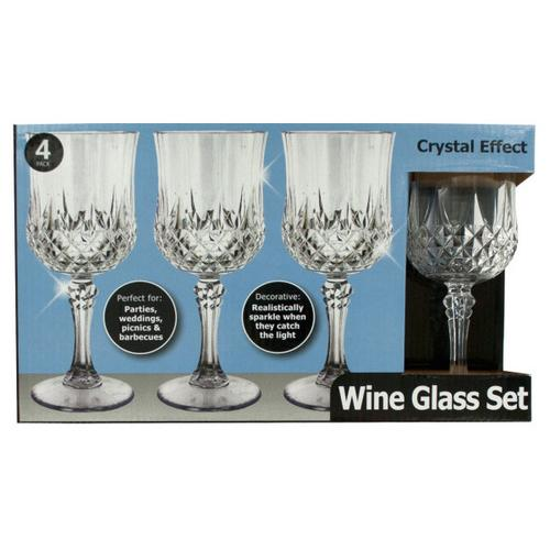 12 oz Crystal Effect Plastic Water Glass Set ( Case of 4 )