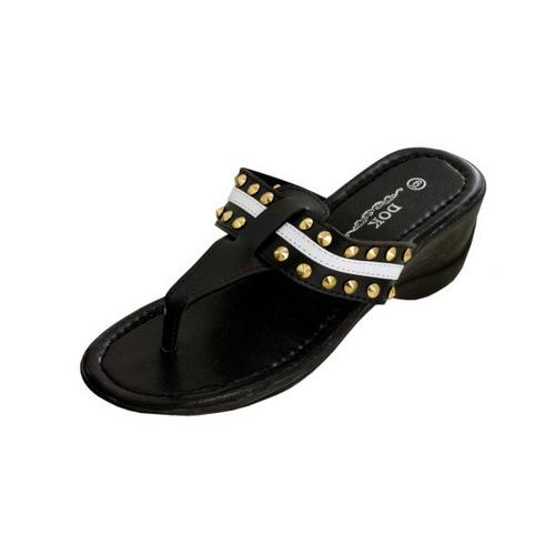 Black Wedge Sandals with Stripe & Spike Accents ( Case of 2 )