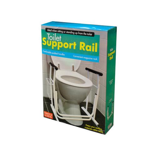 Toilet Support Rail with Magazine Rack ( Case of 3 )