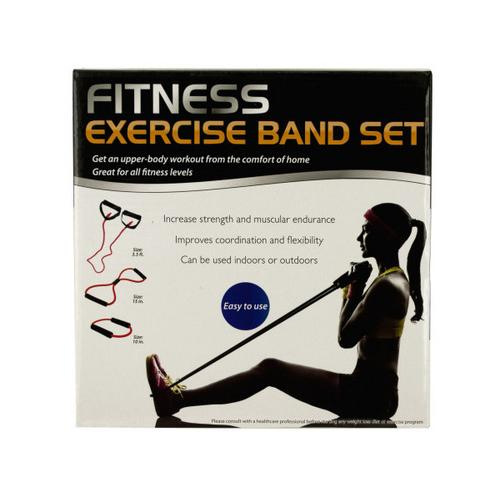 Fitness Exercise Band Set with Storage Bag ( Case of 3 )