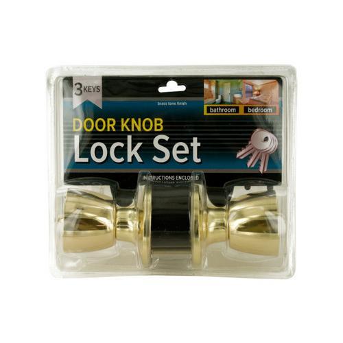 Brass Finish Locking Door Knob Set with 2 Keys ( Case of 4 )