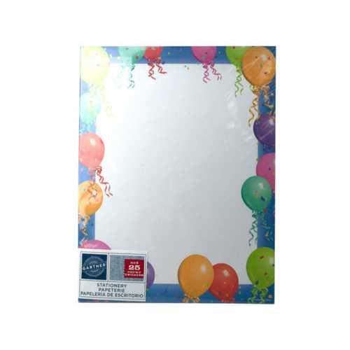Balloon Border Stationery 25 Sheets ( Case of 48 )