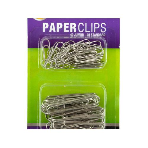 Standard & Jumbo Paper Clips Set ( Case of 24 )