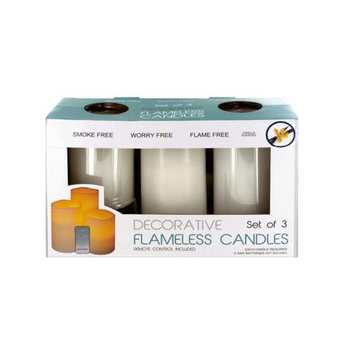 Flameless Vanilla Candles with Remote Control ( Case of 4 )