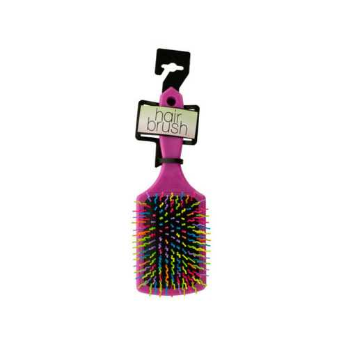 Rainbow Square Paddle Hair Brush ( Case of 6 )