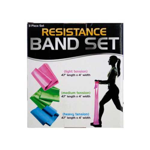 Resistance Band Set with 3 Tension Levels ( Case of 4 )