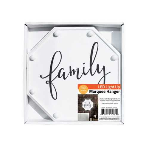 Family LED Marquee Hanging Wall Sign ( Case of 8 )