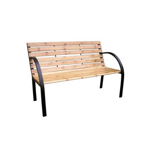 Solid Wood & Steel Park Bench ( Case of 1 )