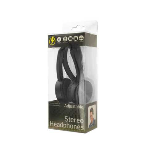 Black Adjustable Stereo Headphones ( Case of 8 )